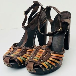 BCBGIRLS Woven Leather And Wood T-Strap Heels